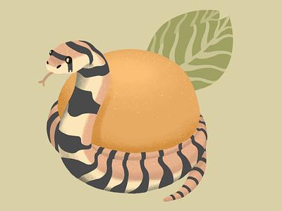 Snake & Orange texture pattern patterns fruits orange ipadpro cute animal fruit illustration illustraion fruit muted colors adorable ipad pro digital illustration illustrator snake snek cute