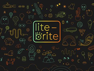 Lite-Brite Unofficial rebrand and website rainbow lite-brite branding web design