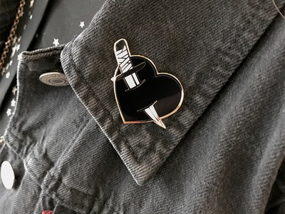 With All My Black Heart Enamel Pin