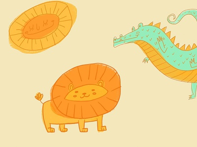 Friendly Animals sunny sun lion dragon cute animals pattern shapes ipad pro illustration character design