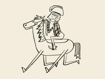 giddyup silly texas horse cowboy character design ink drawing illustration