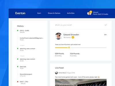Gamification Widget, Profile page everton clean profile football sports gamification ux ui widget