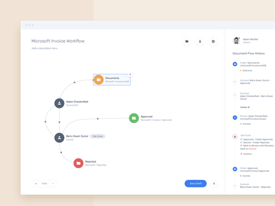 Workflow Preview management process elements tool crm clean saas ux ui graph workflow