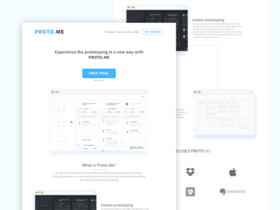 Proto.Me Landing Page Design imac apple user interface clean flat landing page sketch 3 ux ui web design