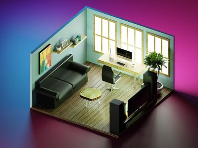 Home Office (Blender3d) design blender3dart blender 3d blender3d 3d art 3d blender