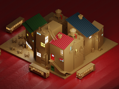 Cardboard city orthographic city 3d artist blender3dart blender 3d blender blender3d 3d art 3d