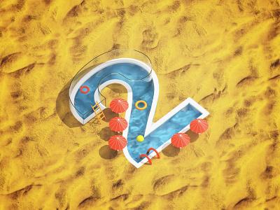NO2 Summer Time pool summer design blender3dart illustration blender 3d blender3d blender 3d art 3d