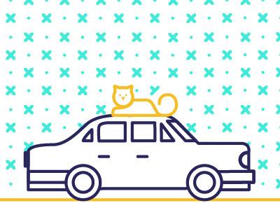 Illustration — Car & Miau shots juaniserrovalle geometric car cat ux web illustration art digital vector icon