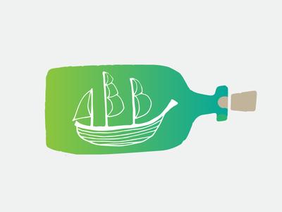 Ship in a Bottle environment bottle ship mark design logo branding illustration