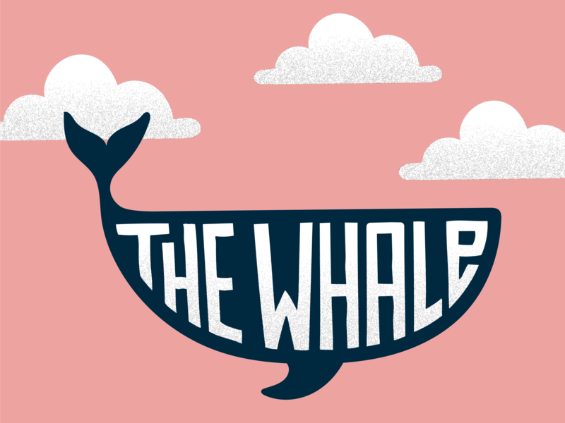 The Whale clouds pink whale type design lettering typography illustration