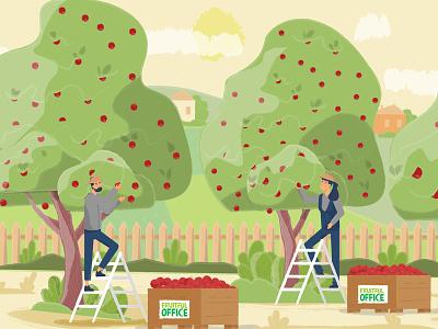 Harvest nature harvest hardwork work people tree apple flowers plants draw man girl woman flat character illustration design