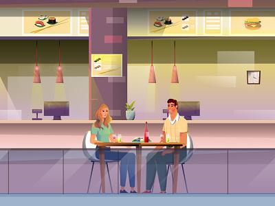Weekend art vector phone lovers dinner restaurant walk family illustrator fa shopping man girl woman flat character illustration design