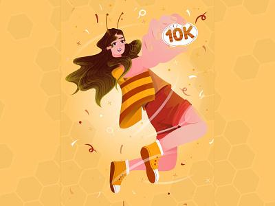 10k followers instagram followers 10k fly characters illustrations mojobees mojo character illustration design