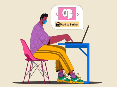 Online Shopping at home workdesk table chair laptop toiletpaper add to basket online shopping characters face draw man flat character illustration design