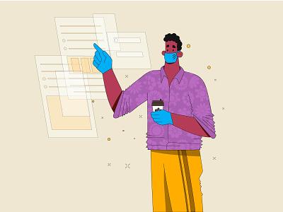 Working time mask work in progress work online drink coffee vector man flat character illustration design
