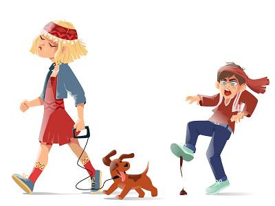 Walk armenian walk angry happy face dog vector art illustrator character design characterdesign boy girl flat illustration character design