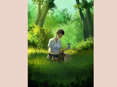Rest is the key to success characters restaurant relax dog flowers plants girl woman flat character illustration design