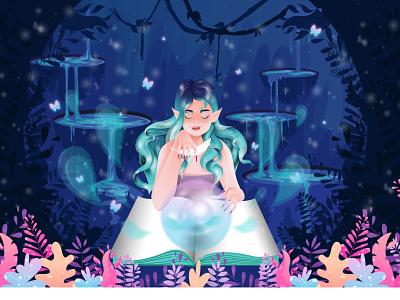 Magic  Elf magical greenhair book green face hair flowers plants woman character illustration design elf magic