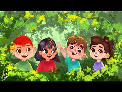 Children in the forest art adobephotoshop happyfaces children forest handdrawing drawing draw character illustration design