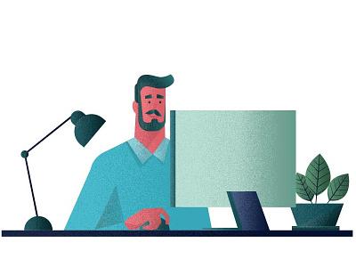 Bearded man sitting at his desk computer flowers lamp beard desk flat man illustration