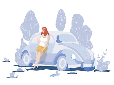Waiting for your reply style bohemian nature tree stand wait character illustration car women