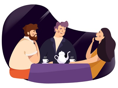Tea Time flat illustration time happy family tea design character