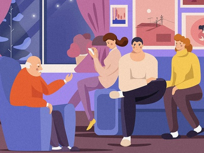 Enjoying family evening grandfather daughter mother father winter evening family illustration design character
