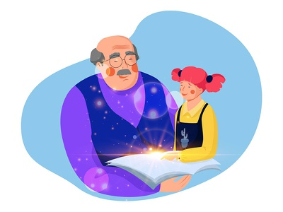 Back to childhood book happy girl grandfather illustration design character