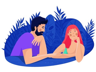 In the evening couple woman man plants evening talk lovers design character