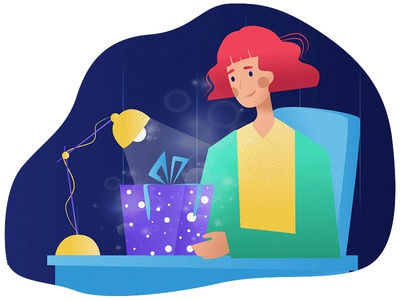 The Gift present illustration colors happy gift design character