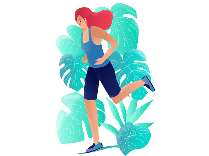 Morning Run plants lifestyle healthy morning running run design character