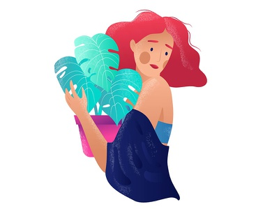 Hugs ^ _ ^ hair red hugs plants colors girl illustration design character