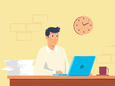Work time clock papers tea laptop time work office illustration design character