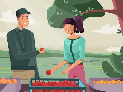 Farmers fruit nature apple farmer illustration design character