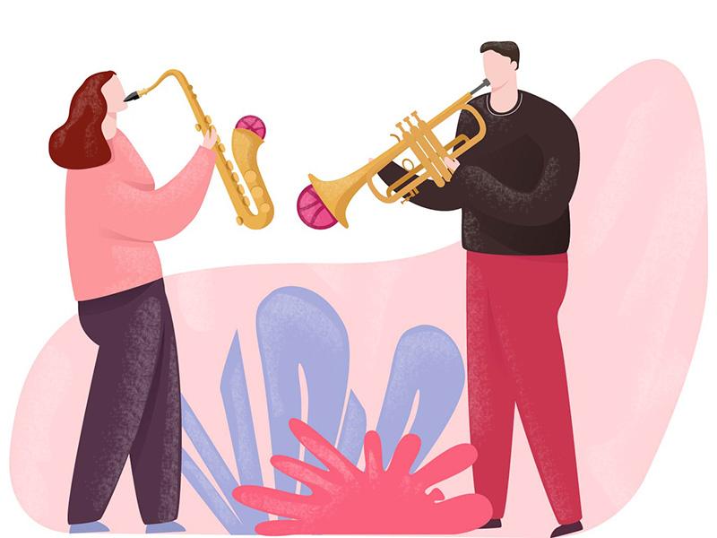 2 Dribbble Invites plants invite jazz music song illustration design character