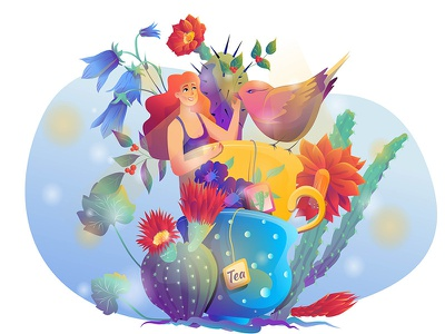Tea Time-2 drink tea teatime cup bird colors characters happy face hair draw tree flowers plants girl woman character illustration design