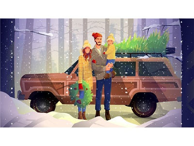 Christmas Mood snow day cold snow christmas tree car parents father mother family winter draw tree man girl woman character illustration design