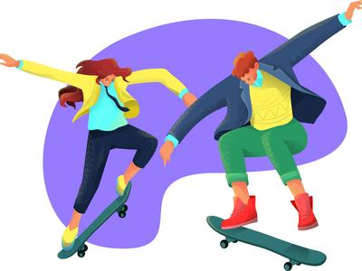 Skateboarding skateboarding art characterdesign characters skateboarder skateboard skateboarding vector man girl woman flat character illustration design