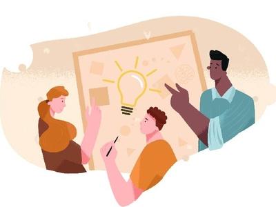 Brainstorm worktime workspace work teamwork team colors vector characters hair face flowers plants draw man girl woman flat character illustration design