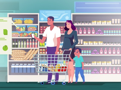 In the Market food products market shop family vector man woman flat character illustration design