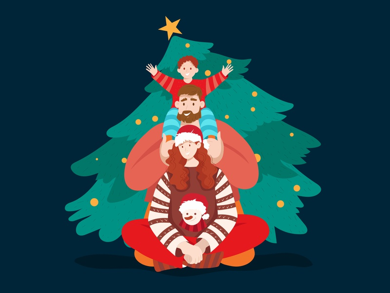 Christmas family happy face happy new year new year family christmas tree christmas woman flat character illustration design