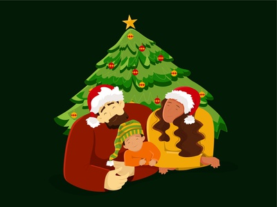 Christmas family 2 christmas tree christmas love family characters face man girl woman flat character illustration design