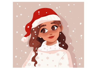 Character snowing winter snow cut eyes mood christmas vector characters face hair girl woman character illustration design