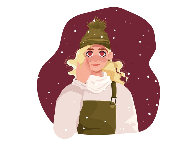 Winter characterdesign cute hat big eyes snowing winter snow draw girl woman flat character illustration design