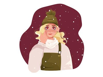Winter characterdesign cute hat big eyes snowing winter snow draw girl woman flat character illustration design