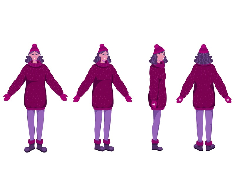 Character Design characterdesign colorful cold hat snow winter draw girl woman flat character illustration design