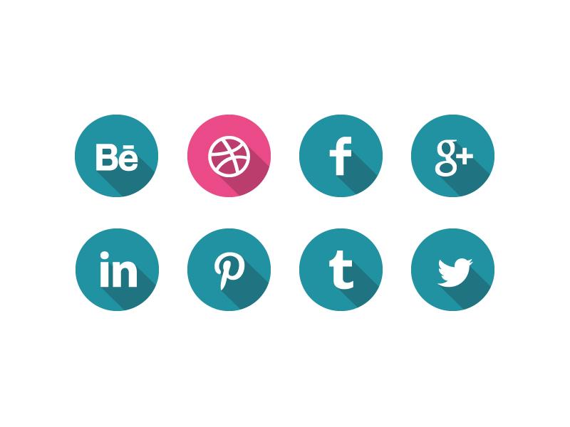 Social media icons behance dribbble facebook google linkedin pinterest tumblr twitter icon flat shadow vector