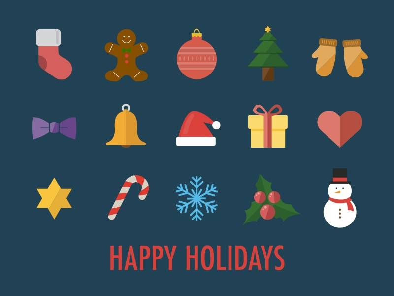 15 Christmas Icons icon vector christmas happy holiday fun gift snow gingerbread winter freebie free