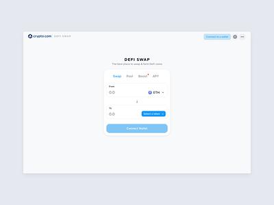 Crypto.com | DeFi Swap blockchain website financial fintech swap ethereum defi cryptocurrency crypto interface ux ui