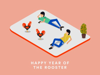 Happy CNY! cny phones digital chilling chinese newyear rooster characters vector illustration